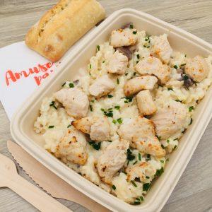 Plat risotto de poulet et champignons