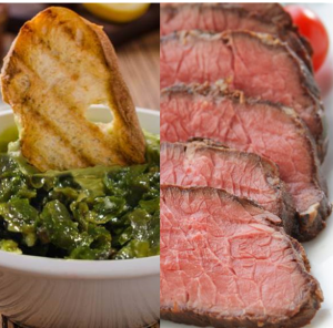 Tartare d'algue et rôti de bœuf
